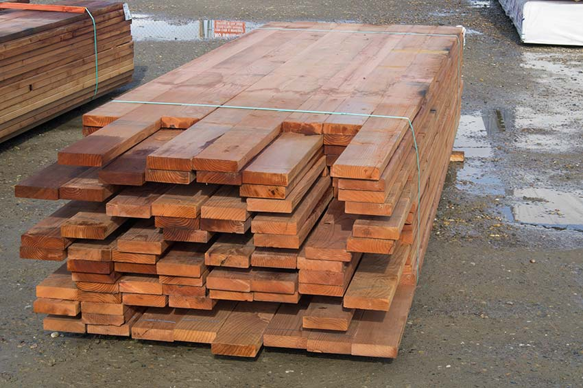 Redwood lumber decking posts boards lattice heart for Redwood siding cost
